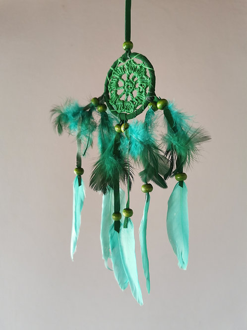 Mini Emerald Macrame Feather Dream Catcher