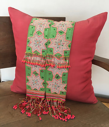 Pretty Pink Hmong Hill Tribe Embroidered Tassel Cushion Cover- FREE P