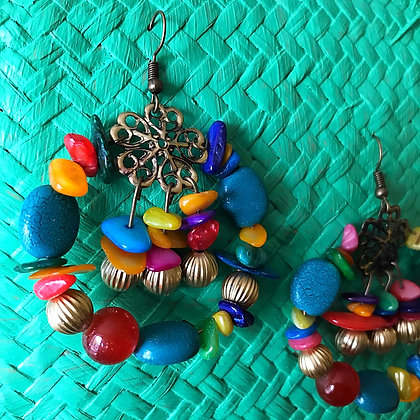 Miranda Boho Bead Cluster Earrings- Turquoise Rainbow Days