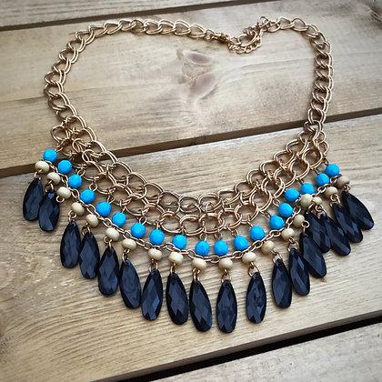 Zetian Beaded Necklace- Black & Aqua