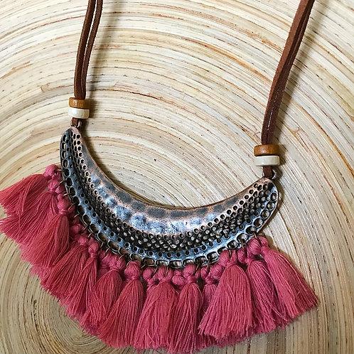 Bohemian Dream Tassel Necklace- Rose Pink Fringe