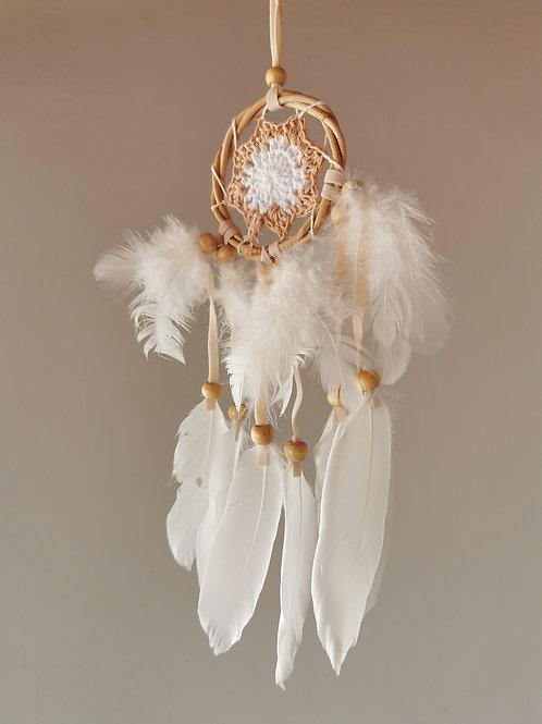 Mocha Mini Macrame Feather Dreamcatcher