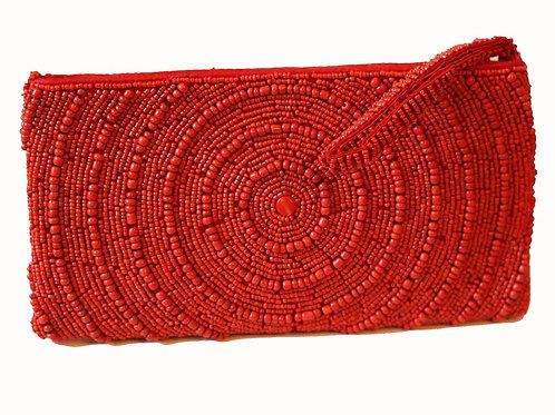Reina Swirl Beaded Clutch Bag- Ruby Red
