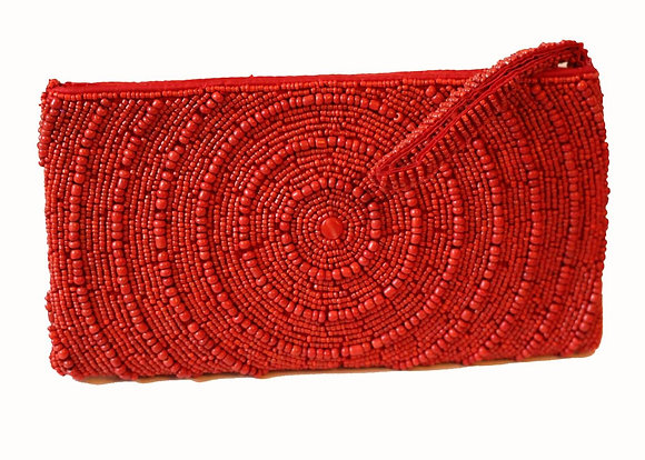 Reina Swirl Beaded Clutch Bag- Ruby Red