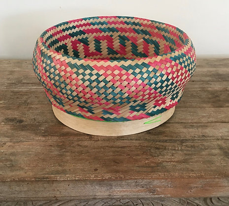 Madagascar Rattan Woven Basket- Strawberry and Lime 2