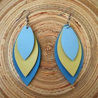 Vegan Leather Petal Drop Earrings- Ocean Sky Blue