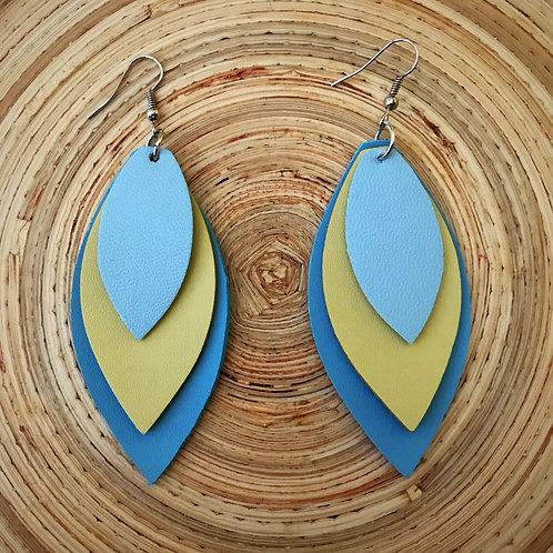 Vegan Leather Petal Drop Earrings- Ocean Sky Blue