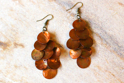 Mermaid Tail Mother of Pearl Earrings- Copper Bronze