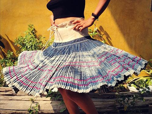 Bluebell Vintage Hmong Hemp Pleated Skirt- Indigo FREE DHL SHIPPING