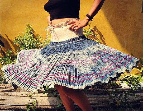 Bluebell Vintage Hmong Hemp Pleated Skirt- Indigo