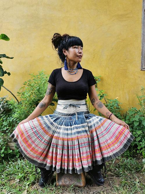 Suzie Vintage Hmong Hemp Pleated Skirt- Indigo FREE DHL SHIPPING