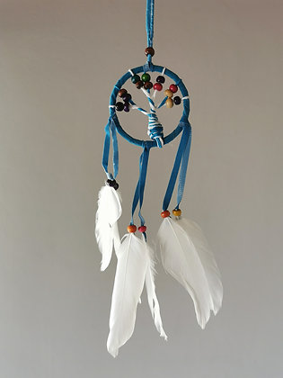 Mini Tree Blue Macrame Feather Dreamcatcher