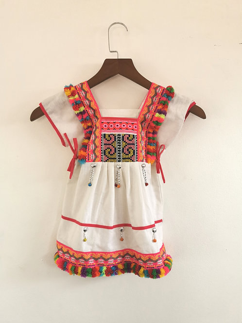 Pink and White Multi Pom Pom Boho Girls Dress Age 2/3