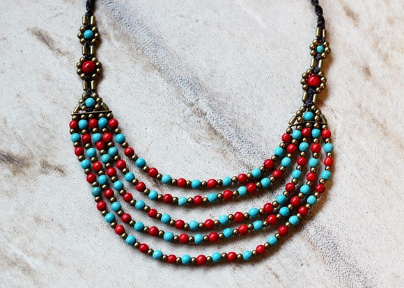 Coral and Turquoise Necklace- Brass and Glass Seed Beads