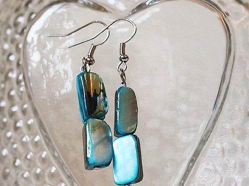 Sweetheart Earrings- Blue Azure Mother of Pearl*