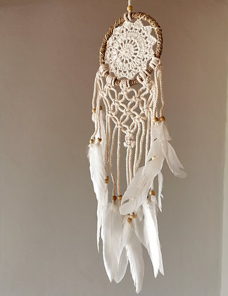 White Angel Oracle Macrame Dreamcatcher- Small