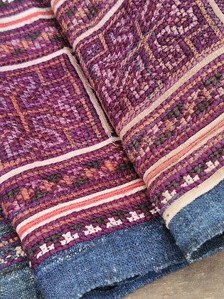Rare Vintage Hmong Organic Hemp Indigo & Silk Embroidered Textile Panel 3.9m