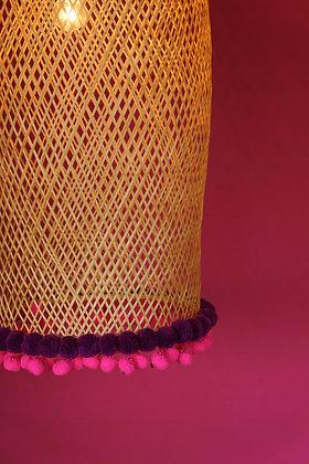 Bamboogie Basket Lampshade Big Bell - Fuchsia Merlot Pom Pom
