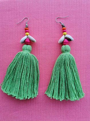 Luscious Lime Tassel and Cowrie Shell Beaded Earrings
