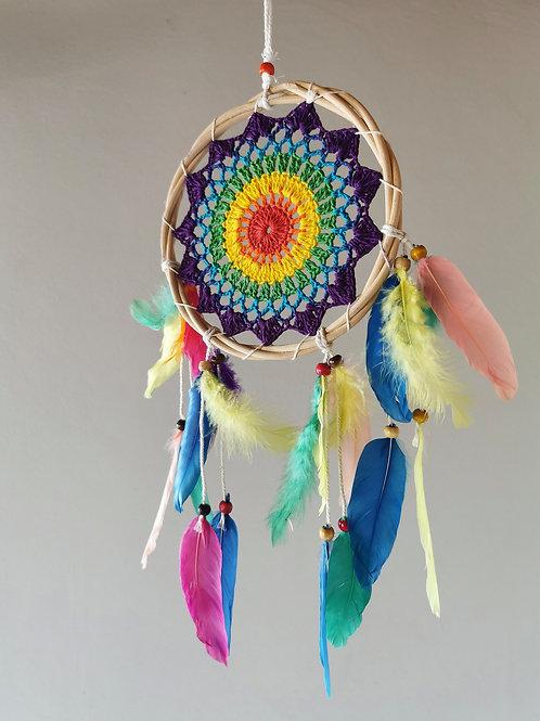 Rainbow Bamboo Crochet Dreamcatcher