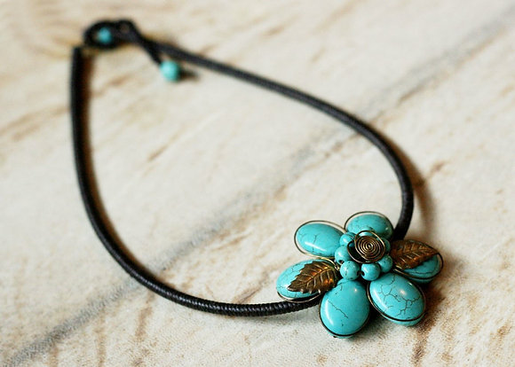 Florette Turquoise Necklace- Howlite Beads and Brass
