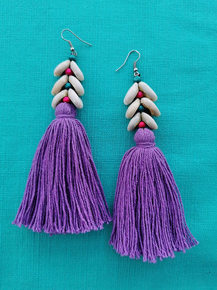 Lilac Amethyst Tassel and Cowrie Shell Beaded Earrings