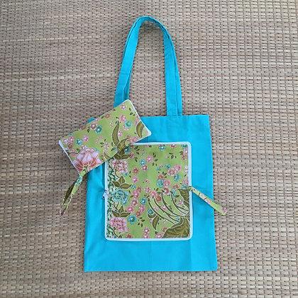 Teal Pink Blossom Reusable Folding Tote Bag- FREE