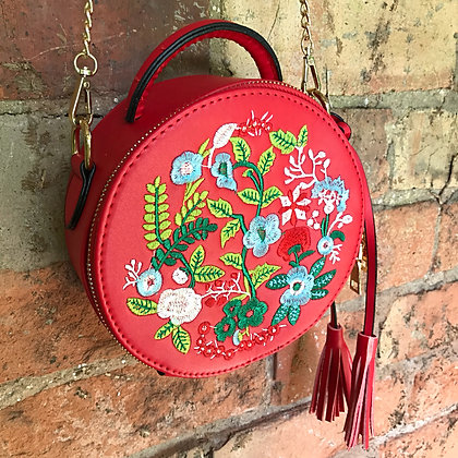 Joni Folk Art Embroidered Round Tote Bag- Scarlet