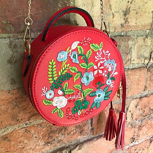 Joni Folk Art Embroidered Round Tote Bag- Scarlet