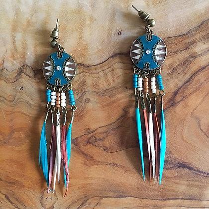 Maasai Mara Shield Feather Earrings- Tribal Blue Aqua