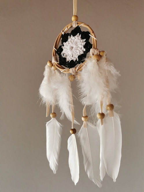 Black & White Mini Macrame Feather Dream Catcher