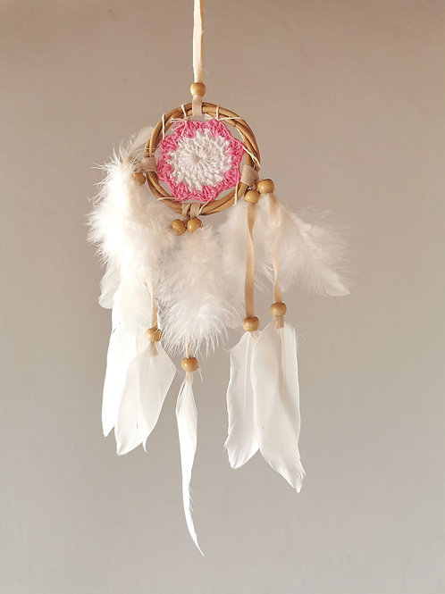 Pink Mini Macrame Feather Dreamcatcher