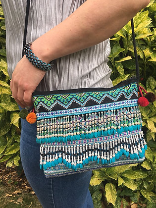 Gardinia Ocean Hmong Style Cross Body Bag with Beaded Tassel Trim