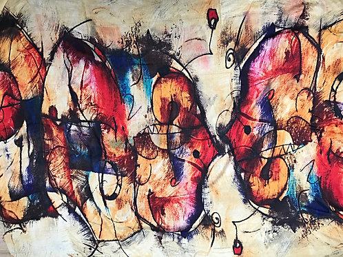 Extra Large Severini Sketch Pashmina Scarf Wall Hanging