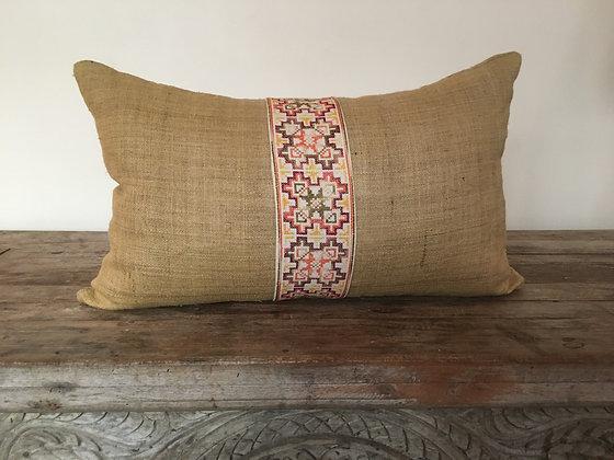Organic Hemp Yao Embroidery Lumbar Cushion