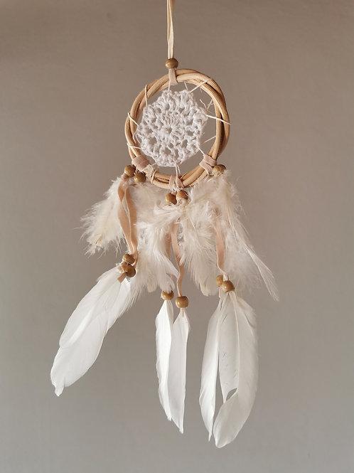 White Mini Macrame Feather Dreamcatcher