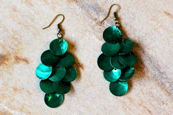 Mermaid Tail Mother of Pearl Earrings- Tropical Green