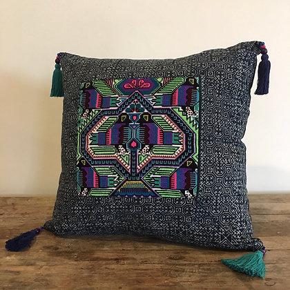 Love Birds Hmong Embroidered Indigo Cushion Cover FREE SHIPPING