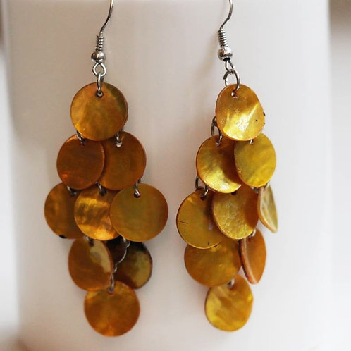Mermaid Tail Mother of Pearl Earrings- Gold Copper*