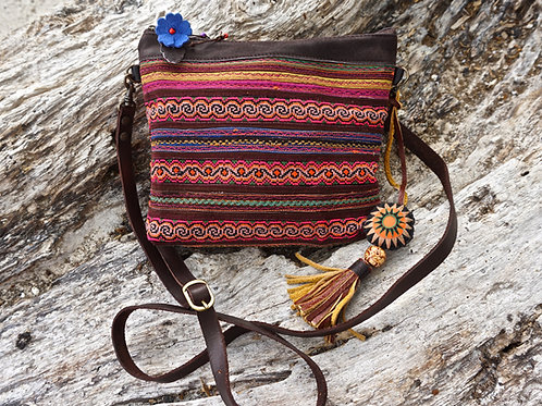Lilla Hmong Cotton and Leather Cross Body Bag