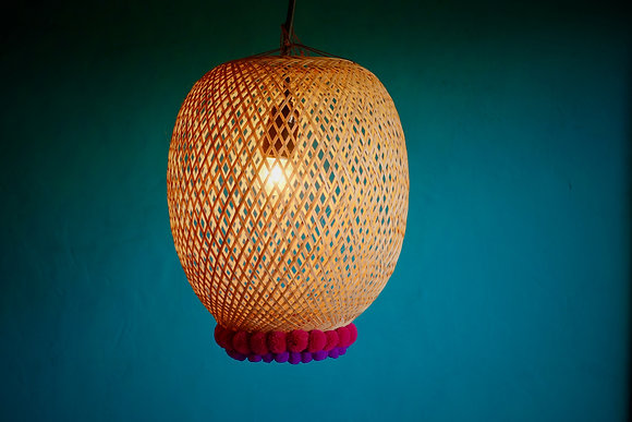 Available to Order Bamboogie Basket Lampshade Sphere Small- Fuchsia Plum Pom Pom