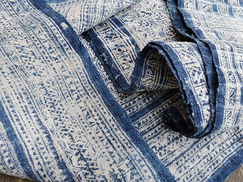 Rare Vintage Hmong Wax Batik Organic Hemp Indigo Textile Panel 5.2m