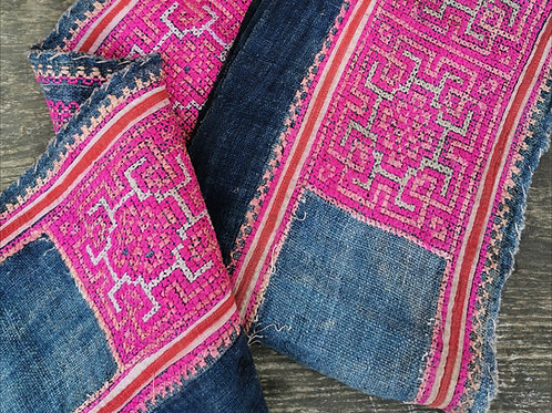Rare Vintage Hmong Organic Hemp Indigo & Silk Embroidered Textile Panel 3.2m