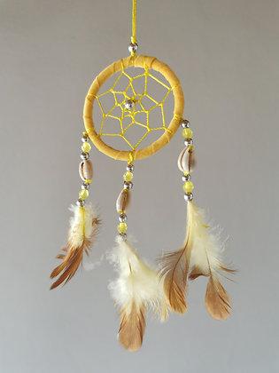 Cowrie Shell Soleil Macrame Feather Dreamcatcher