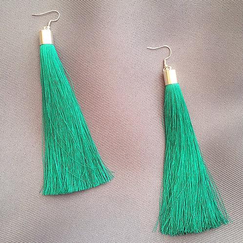 Ponytail Earrings- Emerald Silver Jade