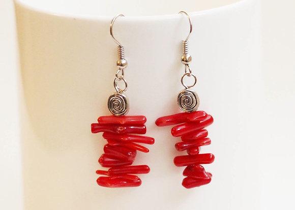 Rock Lobster Earrings- Genuine Red Coral & Silver Swirl