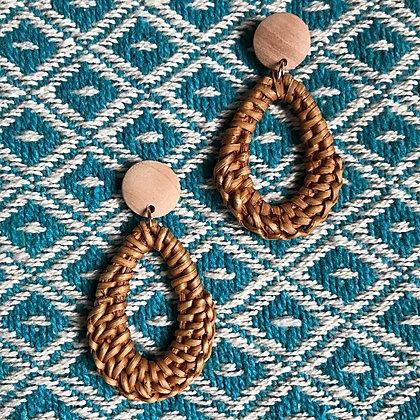 Bamboogie Woven Rattan Teardrop Hoop Earrings