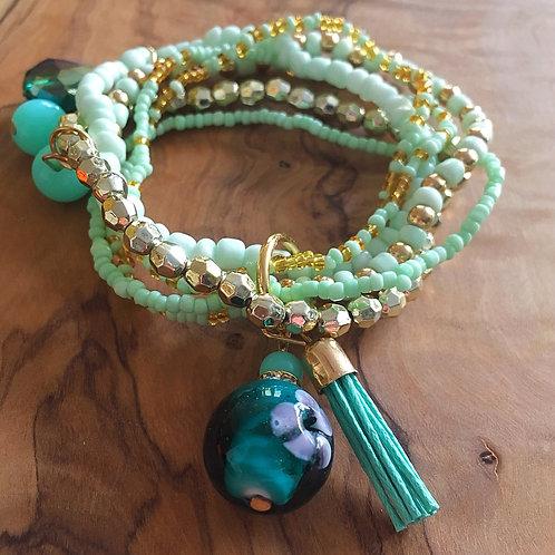 Bundle of Joy Charm Bracelet Stack- Teal