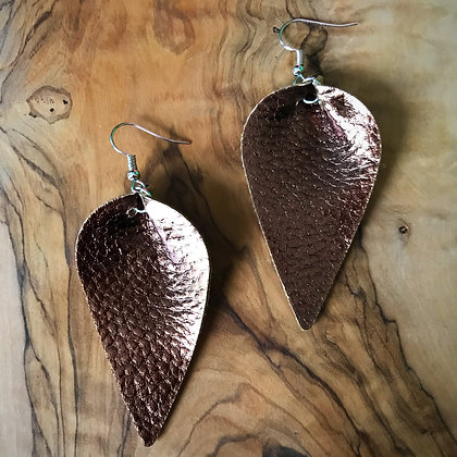 Vegan Leather Reverse Tear Drop Earrings- Mocha Bronze