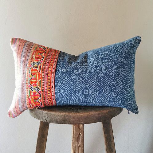 Pink and Blue Lumbar pillow